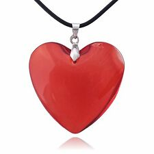 Large Red Glass Heart Necklace
