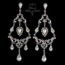 Swarovski Crystal Elements Statement Chandelier Earrings Clear Wedding Bridal