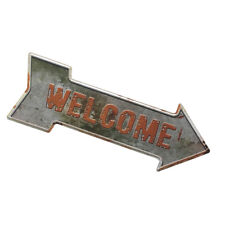 Vintage Style Arrow Shaped Sign with Welcome for Home Cafe Wall Door Decor