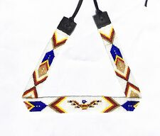 WHITE BLUE THUNDERBIRD DESIGN HATBAND NATIVE STYLE INSPIRED BEAD WORK H54/3