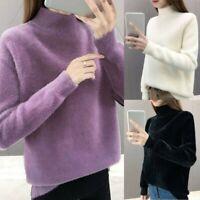Donna Caldo Inverno Dolcevita Soffice Maglione Manica Lunga Pile Pullover Top