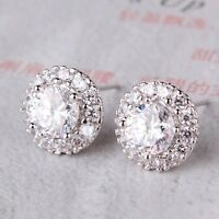 Hot sale 18k white gold filled white sapphire charming stud earring