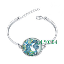 Seahorse glass cabochon Tibet silver bangle bracelets wholesale