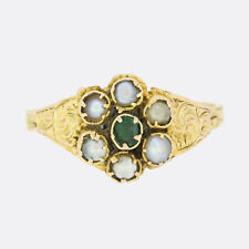 Victorian Emerald and Pearl Cluster Ring 12ct Yellow Gold