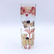 Vase miniature en verre soufflé émaillé à décor floral de Legras Art Nouveau