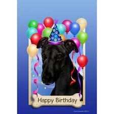 Greyhound Black Happy Birthday Flag