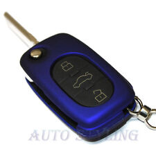 Metallic Blue Key Cover Audi 3 Button Case Remote Fob Protector Cap Shell 41mb