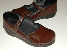 SANITA brown patent Maryjane clogs women 38 us 8