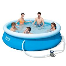 Bestway 10ft Quick Up Round Inflatable Swimming Pool With Filter Pump And Cover!