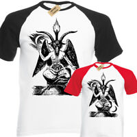 Baphomet Mens Baseball T-Shirt Screen print Gothic Punk Rock Satanic goth