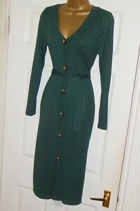 Stretchy ribbed jumper cardigan cardi wiggle tie midi dress sz 12 14 party / day