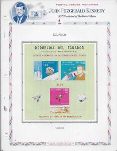 ECUADOR , 1966 , KENNEDY , SPACE ,  SOUVENIR SHEET IMPERF MOUNTED , VLH , CV$18