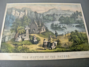 Currier and Ives THE MEETING OF THE WATERS, C & I Litho Print 1868, IRELAND