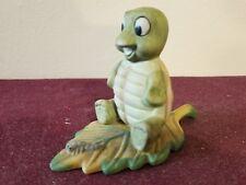 Vintage Homco Turtle on Leaf with Worm No. 1123 Porcelain Figurine