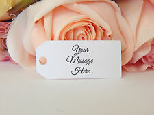 50 Small - Medium White Printed Personalised Wedding Party Bomboniere Swing tags