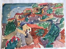 J.S.Hauser Watercolor 1935 Taxco VINTAGE MODERN ABSTRACT CUBISM EXPRESSIONISM