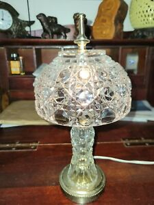 """Vintage  Crystal Cut Glass Small Table Lamp with Matching Shade 12"""""""