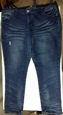 Almost Famous Jeans 24 Plus Womens Distressed Straight Leg Whiskers Denim Blue