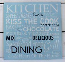 Blechschild Kitchen kiss the cook spice good food blau Schild Blech Metall