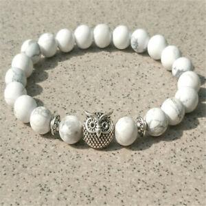 8mm white Howlite Gemstone Owl Mala Bracelet 7.5inches Accessories Healing Wrist