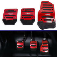 3Pcs Red Aluminum Alloy Racing Sports Car Manual MT Non-Slip Foot Pedals Cover