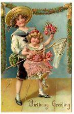 c1910 Gorgeous Gilt Embossed Children w Butterfly Net Vintage Birthday Postcard