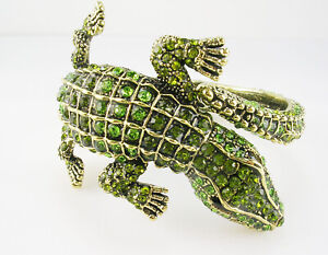 Kenneth Jay Lane Alligator Bracelet     gold  tone Average  GREEN