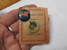 Vtg 1950's Bob Feller,Cleveland Indians Button on Original Card-w/US Flag Pin