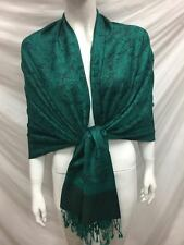 TWO TONE PAISLEY REVERSIBLE WEAR PASHMINA CASHMERE SCARF SHAWL WRAP TEAL GREEN