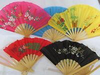 5 FANS CHINESE JAPANESE GEISHA FANCY DRESS BURLESQUE COLOURFUL COSTUME FANS 30cm