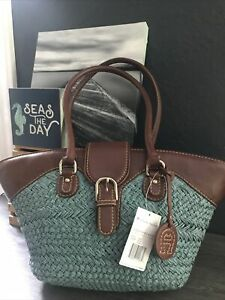 Etienne Aigner SouthBeach Straw BlueBrown Zip Shoulder Handbag Purse NewWithTags