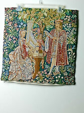 FRENCH JACQUARD TAPESTRY THROW PILLOW CUSHION COVER LADY AND THE ORGAN