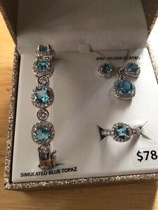Brilliance fine jewelry simulated blue Topaz fine silver plated Set