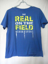 Under Armour T-Shirt Youth XL Heat Gear Real on the Field Blue Yellow