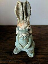 Vintage Chalkware Easter Rabbit Bunny Blue Nodder Bobble Figurine