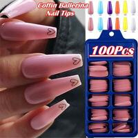 100 X Set False Nail Tips Matte Full Cover Long Coffin Fake Nails Art Manicure