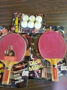 Two Vintage Dick Miles tournament table tennis paddles and pack of 6 balls