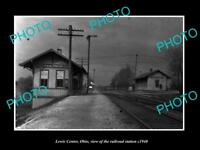 OLD LARGE HISTORIC PHOTO OF LEWIS CENTER OHIO, THE RAILROAD DEPOT STATION c1940