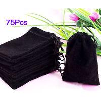 75X Black Velvet Drawstring Jewelry Gift Bags Pouches HOT W3K5