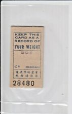 Singapore 1970's Vending Weight Machine Ticket, Hard Paper, Scarce Collectible