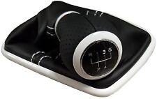 Passend für VW BORA GOLF 4 IV LEDER SCHALTKNAUF - SCHALTSACK RAHMEN WEIß 12mm 5G