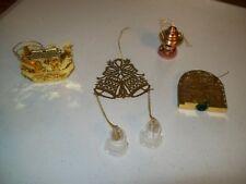 Set of 4 Brass Christmas Tree Ornaments