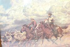 Vtg Western Art Print Storm Stampede Cowboy LIGHTNING STRIKE Steer Horses Frame
