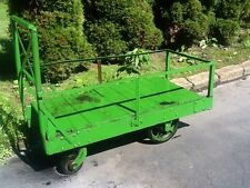 Antique Industrial Steel  /Wood Green Railroad Cart On Wheels - Great Look- Good