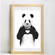 Panda Cartoon Canvas Poster Nursery Wall Art Print Baby Living Room Decor 2 Size