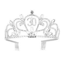 Frcolor Happy Birthday 30th Silver Crystal Tiara Crown