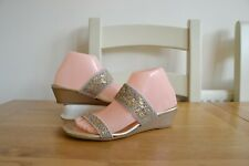 RUSSELL+BROMLEY GOLD MOSAIC ELASTICATE/LEATHER LINED TWO STRAP SLIDE SANDALS UK5
