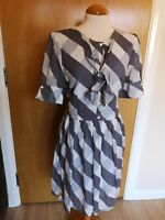Ladies M&S Dress Size 14 Grey Check Smart Party Day