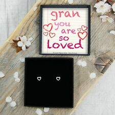 Silver Heart Earrings Studs For Gran Mothers Day Birthday Gift Present Jewellery