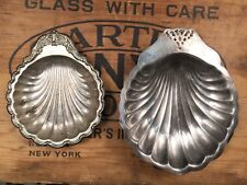 Lot of 2 Small Silver Shell Trinket Trays Scalloped Platters